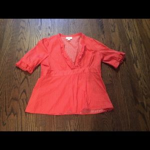 Ann Taylor Loft Petite Orange & White Dot Shirt